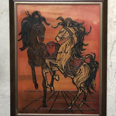 """Large Lee Burr Hand-Colored Painting, """"Carousel"""" Dancing Horses in Orange and Black, Turner Wall Accessories by ilikemikes"""