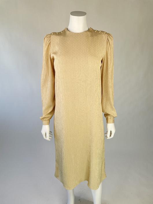 1980's Elegant Taupe Striped Puff-Sleeve Dress