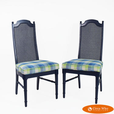 Pair of Faux Bamboo Blue Cane Chairs