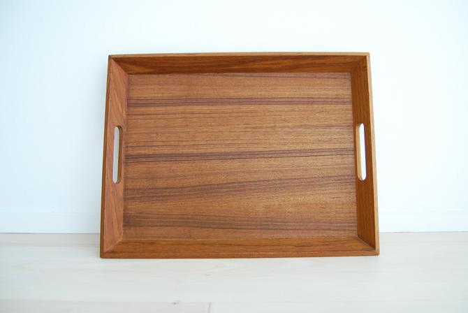 Vintage Karmar Designs Rectangular Teak Serving Tray with Handles Made in Thailand by MidCentury55