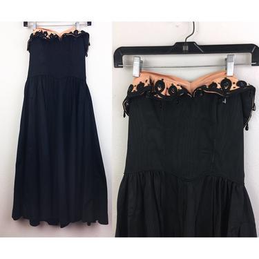 Vintage 40s/50s Strapless Party Dress Black and Pink w/ Beaded Rhinestone Trim 1950s XS by FlashbackATX