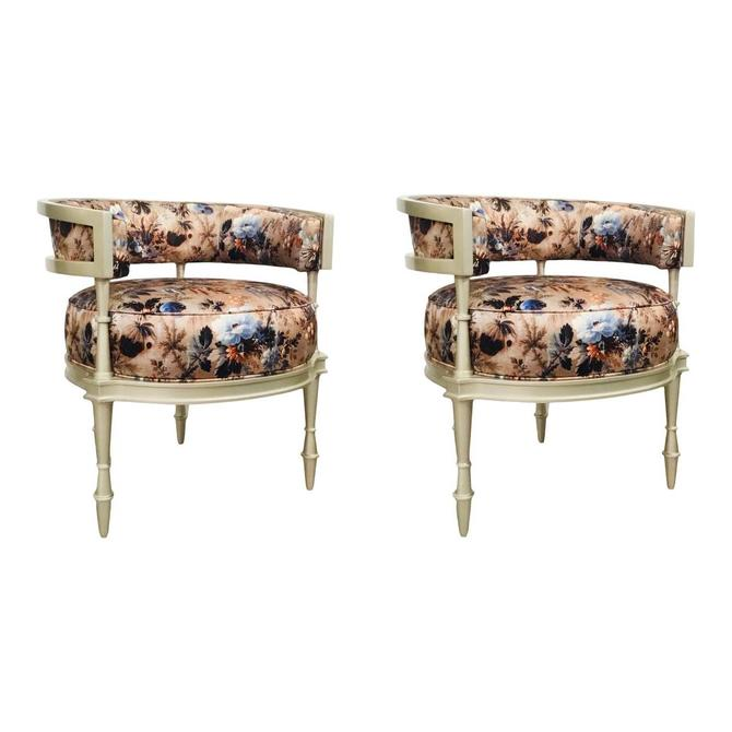 Caracole Couture Modern Floral Print Lounge Chairs - a Pair