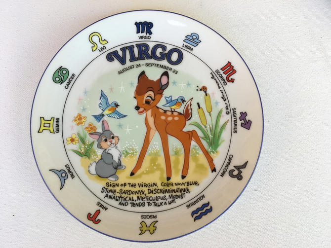 Vintage Disney Bambi Virgo Plate With Easel,  Horoscope, Astrology, Zodiac Signs by luckduck
