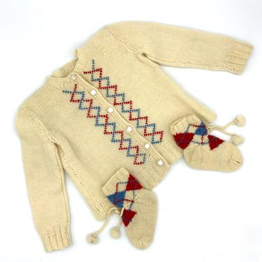 Vintage 1960s Hand-Knit Doll Sweater and Matching Booties, Ivory Wool Argyle Pattern Cardigan, Mid-Century Unisex Doll Clothing by RanchQueenVintage