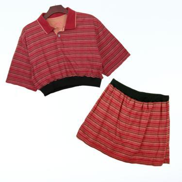 2pc Red Stripe Knit Polo Set