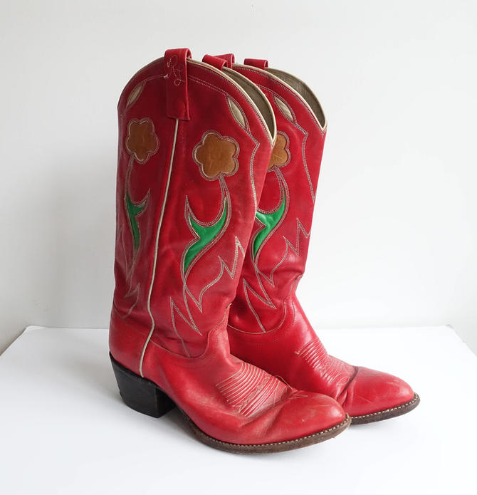 a7135142b80 Vintage 90s Ralph Lauren Red Cowboy Boots/ Floral Inlay Pointed Toe Pull On  Western Boots/Size 9 by bottleofbread