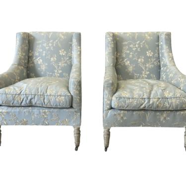 Italian Upholstered Arm Chairs - Early 20th C - a Pair