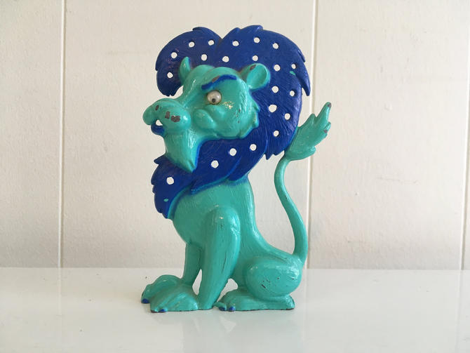 Vintage Lion Jewelry Holder Earring Organizer Metal Decor Libby Blue Teal Turquoise Googly Eyes 1970s by CheckEngineVintage