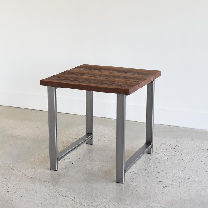 Rustic End Table / Reclaimed Wood Side Table with Industrial H-Shaped Legs by wwmake