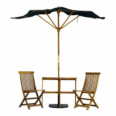 Organic Modern Outdoor Half Umbrella and Acacia Wood Chairs and Table Set of Four