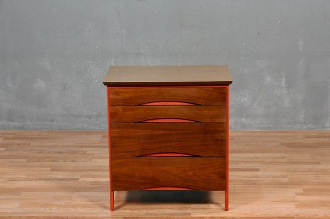 Mid Century Laminate & Red 4-Drawer Commode