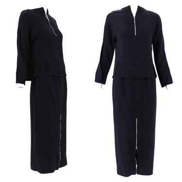 90s Geoffrey Beene black zipper dress set 2  / vintage 1990s Beene 2 piece outfit top skirt S by ritualvintage
