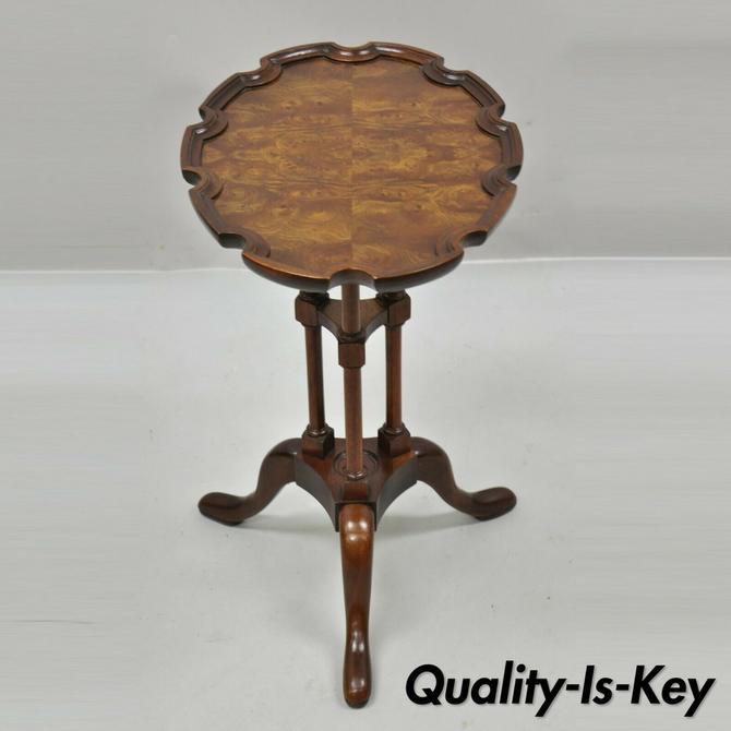 Baker Historic Charleston Burlwood Scalloped Edge Tea Table Side Table