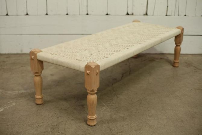 Wood and Fabric Woven Bench- White