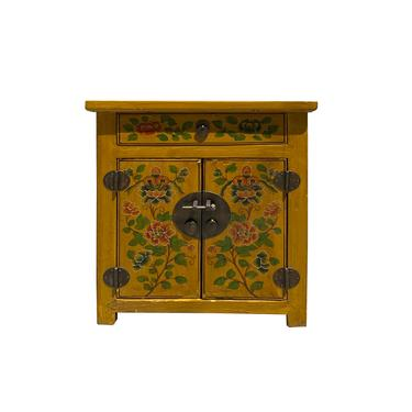 Distressed Yellow Lacquer Oriental Flower End Table Nightstand cs6119E by GoldenLotusAntiques