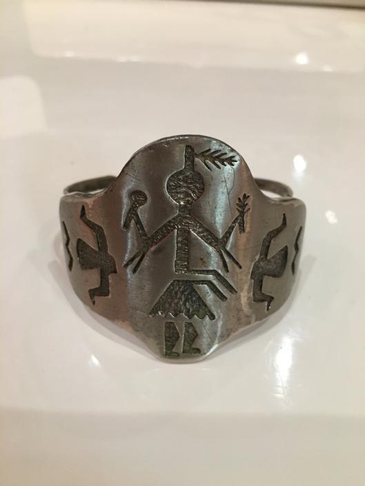 vintage cuff bracelet, Native American bracelet, hopi bracelet, navajo style, chunky mens bracelet, zuni bracelet, harvest dancer by BlackLabelVintageWA