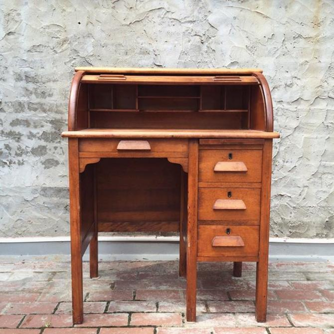 Petite, Children's Roll Top Vintage Solid Wood Desk. From