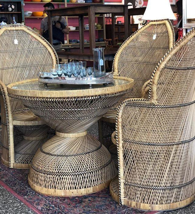Fabulous Rattan table with glass and chairs (sold separately). Table $195 Chairs $225 each