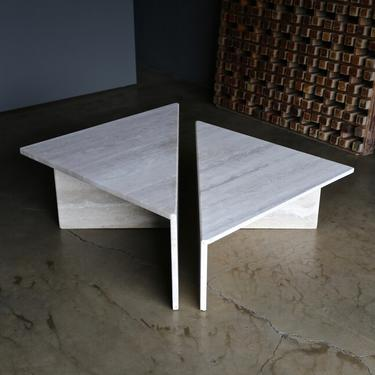 Tiered Two-Piece Travertine Coffee Table, circa 1980