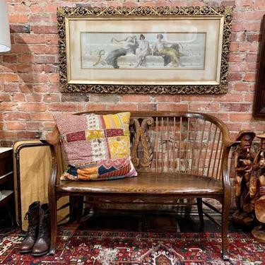Oak hall bench, antique framed Virgilio Tojetti print