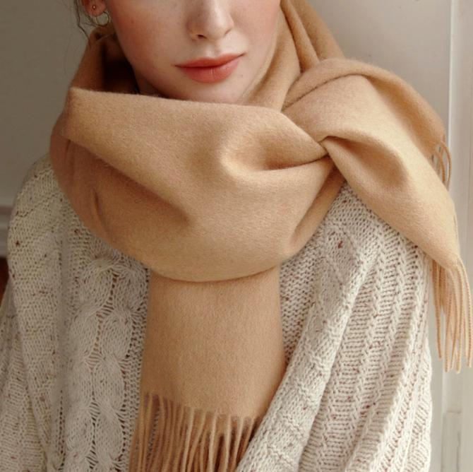 Wool scarf, handmade scarf, gift ideas, gift for her, wool scarf, Merino Wool, winter scarf, made in US, light caramel by melangeblancdesigns