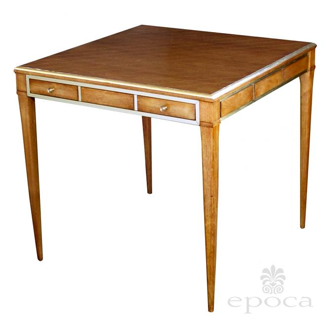 a stylish american 1950's walnut single-drawer square game table with brass detailing