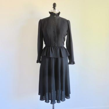 """Vintage 1980's Victorian Style Black Ruffle Neck Blouse and Skirt Set Ensemble Peplum Long Sleeve Goth Albert Nipon Boutique 25"""" Waist Small by seekcollect"""
