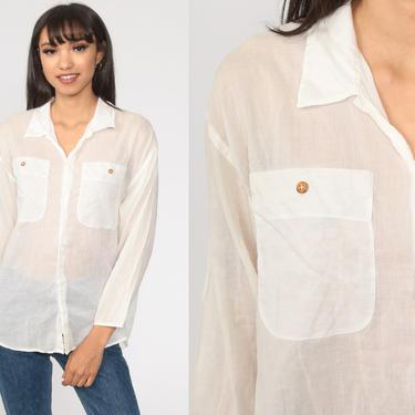 White BUTTON UP Shirt 90s Blouse Vintage Plain Simple Collared Shirt Cotton Top 1990s Retro Plain Long Sleeve Liz Claiborne Small Medium by ShopExile