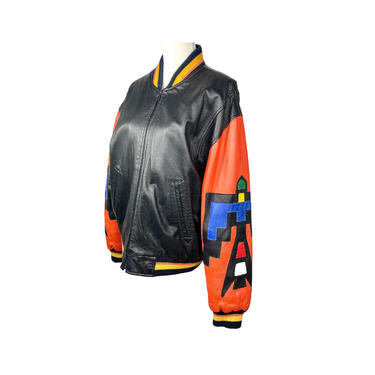 Vintage Clothing Southwestern Pioneer Wear Leather Jacket, Thunderbird Embellishment Zip Up, Quilted Lining 80's Clothing, Size Medium by DakodaCo