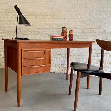 Apartment Sized Mid Century Modern Danish Teak Desk, Circa 1960's by CIRCA60