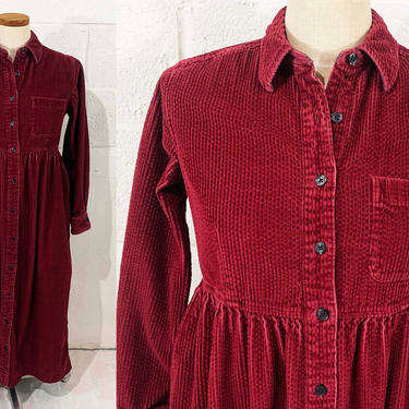 Vintage Corduroy Shirt Dress Eddie Bauer 90s 1990s Long Sleeve Button Front Cozy Warm Minimalist Style Minimal Classic Maroon Large Small XS by CheckEngineVintage