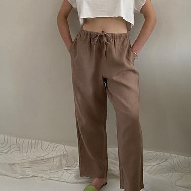 90s linen pants / vintage high waisted cocoa woven linen drawstring elastic waist easy lounge baggy pants   M by RecapVintageStudio