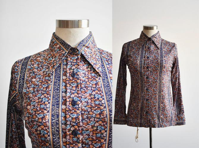1970s Floral Striped Disco Blouse by milkandice