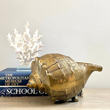 Brass Shell Large Brass Planter Footed Whelk Conch Shell Coastal Beach Decor by ModRendition