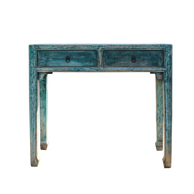 Chinese Distressed Dark Teal Blue Lacquer 2 Drawers Console Table cs5345S