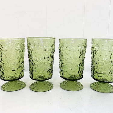 Vintage Avocado Geen Anchor Hocking Lido Milano Crinkle Glass Iced Tea Glasses Set of Four Pedestal Tumblers Textured Highball 1960s 1970s by CheckEngineVintage