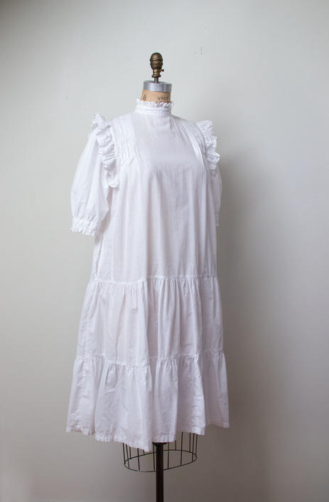 1970s Indian Cotton Dress | 1970s White Ruffled Dress by FemaleHysteria