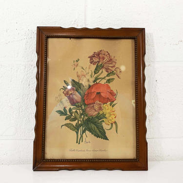 Vintage Framed Floral Print Botanical Wall Art Gallery Chirat 40s 1940s Print Wooden Brown Frame Flowers Boho Bohemian Style by CheckEngineVintage