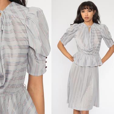 Striped Puff Sleeve Dress 80s Midi Sheer Grey Peplum Dress Cowl Neck Dress High Waisted Boho Secretary Dress Vintage 1980s Small Medium by ShopExile