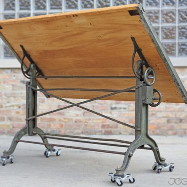 massive vintage drafting table by Frederick Post Co. – cast iron base, rare, value-retaining tilting industrial desk, restored &revived top by jeglova