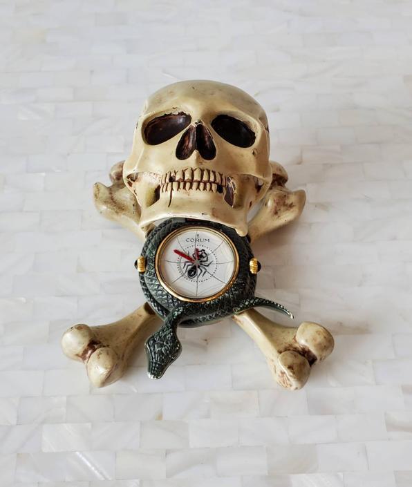 Rare Corum Jolly Roger Skull & Crossbones Enameled Metal Sculptural Alarm Desk Clock / Travel Table Clock, circa 2005, 3.101.25 by LynxHollowAntiques