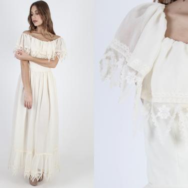 Victor Costa Ivory Chiffon Wedding Maxi Dress Vintage 70s Ivory Formal Bridal Ceremony Off The Shoulder Solid Lace Long Womens Dress by americanarchive