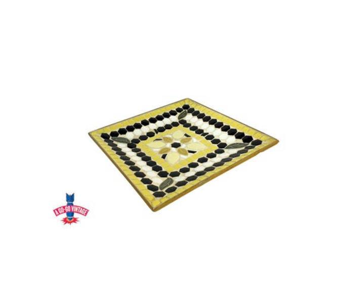 Vintage Mosiac Tile Tray, Mid Century Modern Handmade Flower Tile Dish by AGoGoVintage