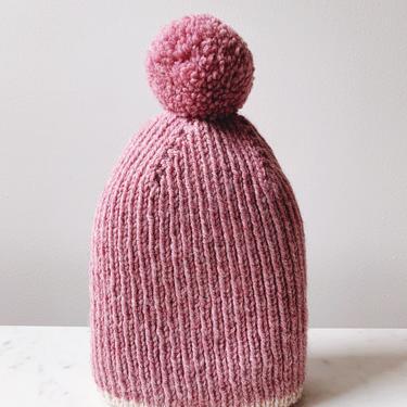 Little Minnows Hand Knit Baby Beanie Hat // Dark Heather Rose with Pompom by mammothandminnow