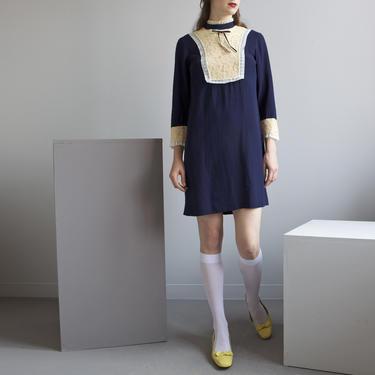 ink blue knit crepe de chine lace trimmed mini mod dress / 70s young edwardian / XS S by EELT