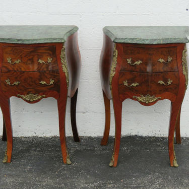French Carved Inlay Marble Top Pair of Nightstands Side End Bedside Tables 2344