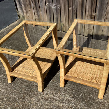 Beautiful pair of vintage woven rattan glass top tables by HolbrookBazaar