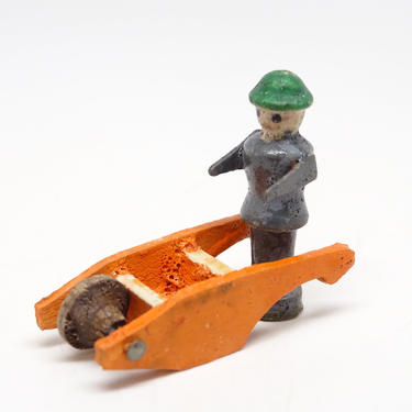 Antique German Wooden Man with Wheelbarrow Cart, Vintage Hand Painted Miniature Toys for Putz or Nativity, Erzgebirge Germany by exploremag