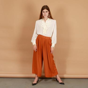 80s Caramel Brown Palazzo Pants Vintage High Waisted Wide Leg Trousers by AppleBranchesVintage