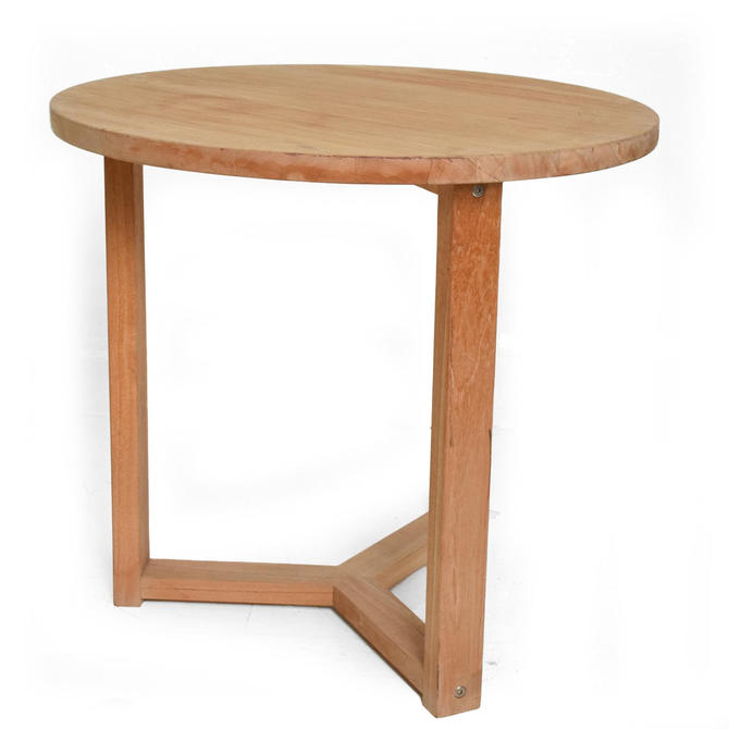 Mid Century Modern Teak Round Side Table After McGuire San Francisco by AMBIANIC